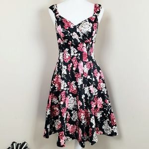 WHBM floral fit and flare dress